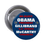 New York for Obama Gillibrand McCarthy Pinback Button