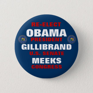 New York for Obama Gillibrand Meeks Pinback Button
