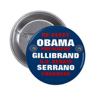 New York for Obama Gillibrand Serrano Button