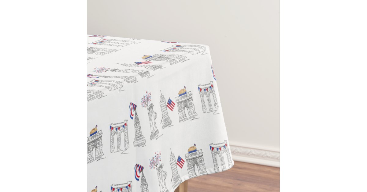 New York Fourth Nyc July 4th Patriotic Fireworks Tablecloth Zazzle