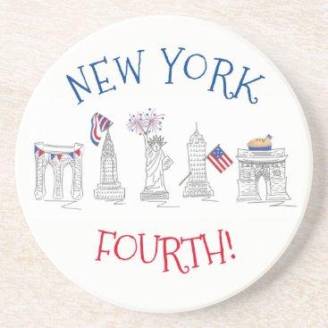 New York Fourth NYC Patriotic July 4th Landmarks Coaster