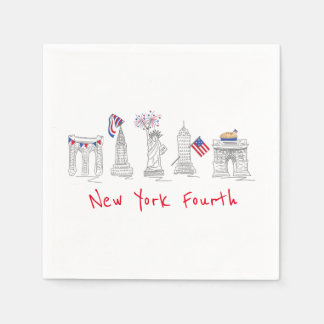New York Fourth NYC Patriotic Landmarks Napkin