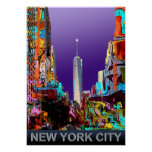 New York freedom tower in colorful graffiti poster