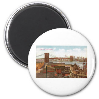 New York from Brooklyn 2 Inch Round Magnet