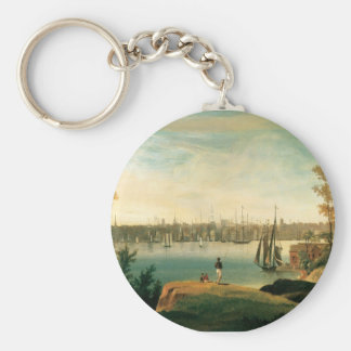 New York from Brooklyn Heights circa 1834 Basic Round Button Keychain