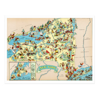 New York Funny Vintage Map Postcards