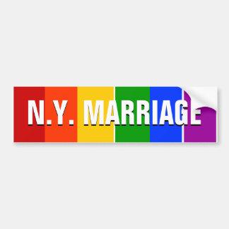 NEW YORK GAY MARRIAGE RAINBOW CAR BUMPER STICKER