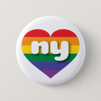 New York gay pride rainbow heart - mini love Button
