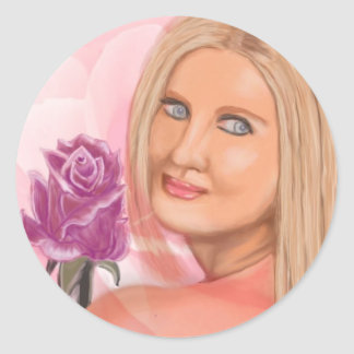 New York Girl with Rose Round Stickers