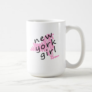 New York Girl with Scribbled New York Map Coffee Mug