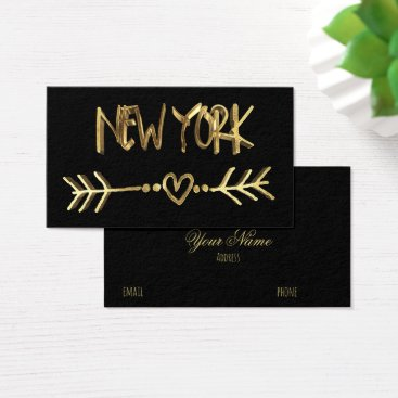 USA Themed New York Gold Look Typography USA City Elegant Business Card