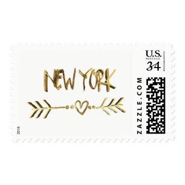 USA Themed New York Gold Look Typography USA City Elegant Postage