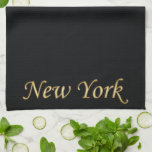 New York Gold - On Black Hand Towels