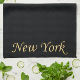 New York Gold - On Black Kitchen Towel