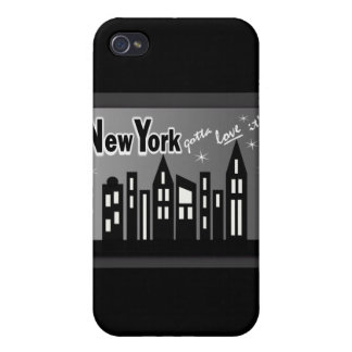 New York--Gotta Love It! With Cute Buildings iPhone 4 Cases