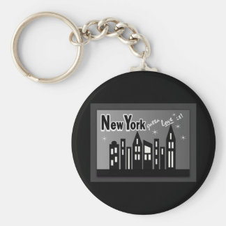 New York--Gotta Love It! With Cute Buildings Basic Round Button Keychain