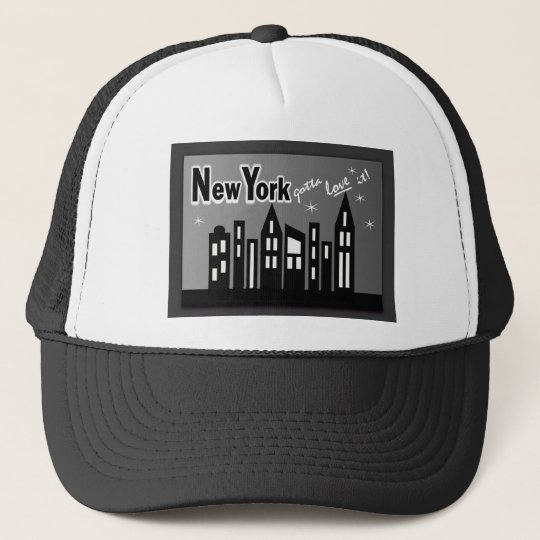 New York--Gotta Love It! With Cute Buildings Trucker Hat