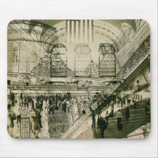 New York Grand central Station collage mousepad