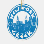 New York Greek American Double-Sided Ceramic Round Christmas Ornament