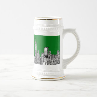 New York green drawing Beer Stein
