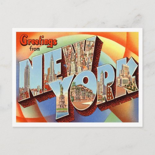 New York Greetings From US States Postcard