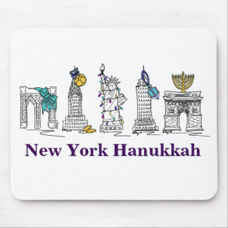 New York Hanukkah NYC Buildings Holiday Mousepad