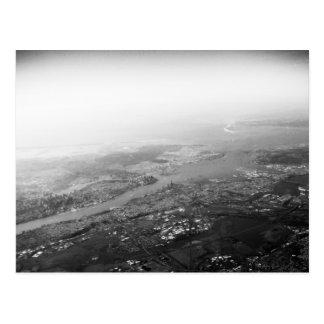 New York Harbor Aerial B&W Postcard