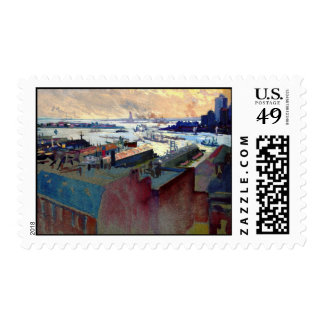 New York Harbor from the Margaret 1922 Postage Stamp