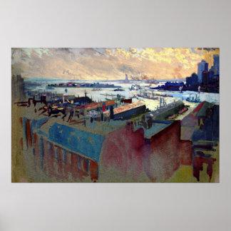 New York Harbor from the Margaret 1922 Poster