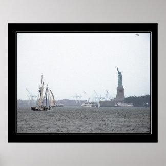 New York Harbor in Fog bordered Poster
