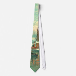 New York Harbor with Brooklyn Bridge 1887 Neck Tie