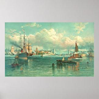 New York Harbor with Brooklyn Bridge 1887 Poster