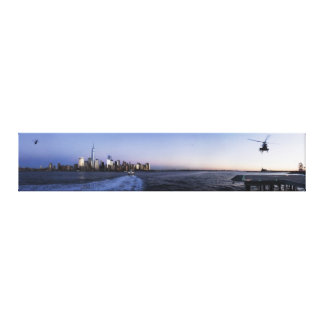 New York Harbor with Ferry Boat and Helicopters Canvas Print