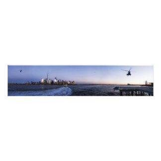 New York Harbor with Ferry Boat and Helicopters Photo Print