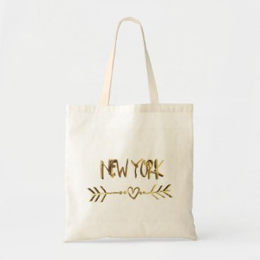 USA Themed New York Heart Arrow Elegant Gold Brown Typography Tote Bag