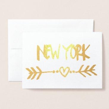 USA Themed New York Heart Arrow Gold Foil Elegant Typography Foil Card