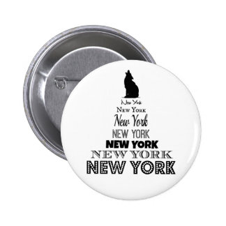 New York Howling, Dog Coyote, Wolf - I love NY Pinback Button