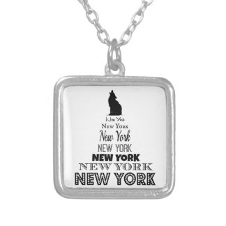 New York Howling, Dog Coyote, Wolf - I love NY Square Pendant Necklace