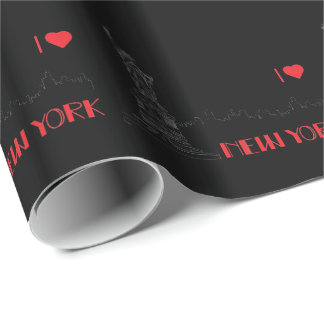 New-York, I love, Statue-of-Liberty Black Wrapping Paper