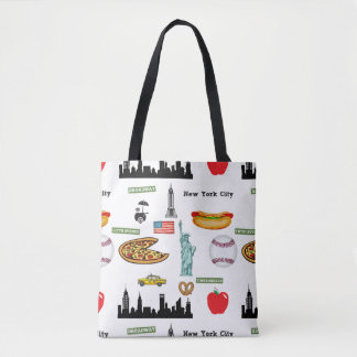 New York Icons Pattern by Orchard Three Tote Bag