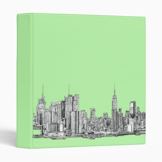 New York ink in lime green 3 Ring Binder
