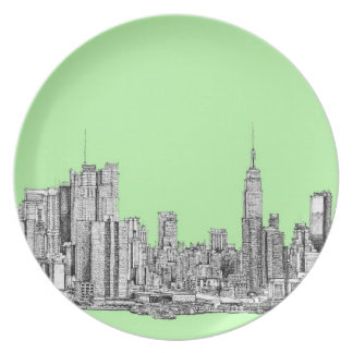 New York ink in lime green Plate