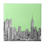 New York ink in lime green Tiles