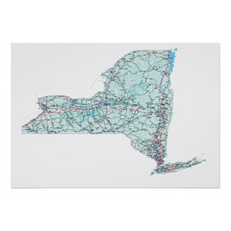 New York Interstate Map Print