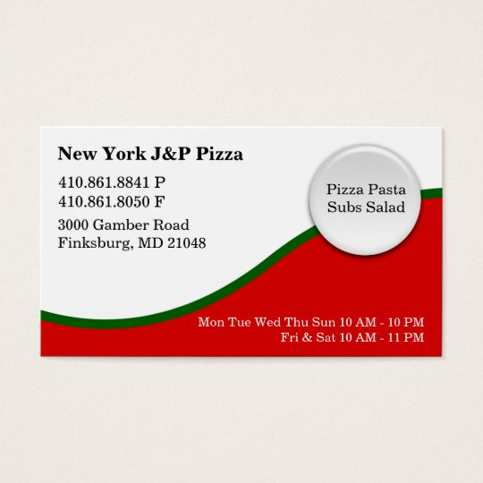 New York J And P Pizza - NEW Business Card