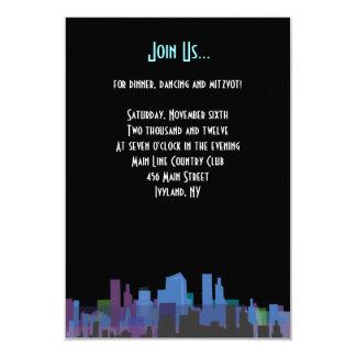 "New York Lady Liberty Bar Bat Mitzvah Party Card 3.5"" X 5"" Invitation Card"