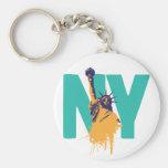 New York Lady Liberty Basic Round Button Keychain