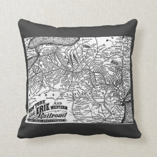 New York Lake Erie and Western Railroad 1884 Map Throw Pillow