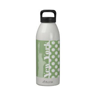 New York; Laurel Green Polka Dots Reusable Water Bottles