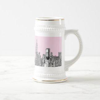 New York light pink 18 Oz Beer Stein